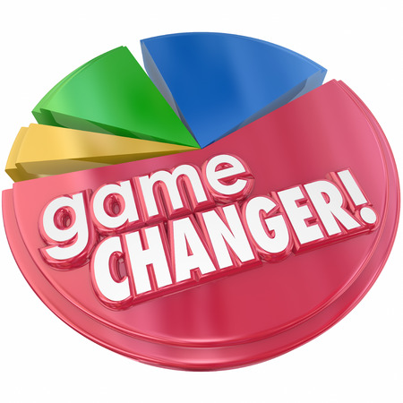 word game: Game Changer words in 3d letters on a pie chart to illustrate increased competition and growing market share due to a change in business plan or model