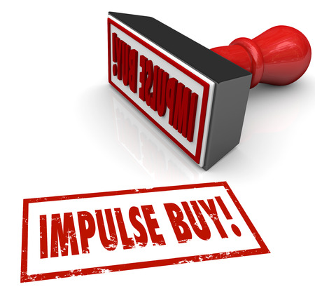 spurring: Impulse Buy words in red stamp to illustrate a purchase driven by emotional response or feelings instead of rational thought or consideration
