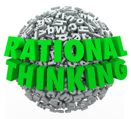 Rational Thinking 3d words on a ball or sphere of letters to illustrate intelligent, reasonable and sensible thought in solving a problem