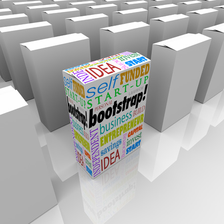 is established: Bootstrap word on product package or box as a unique company or new business startup or launch among many established competitors Stock Photo