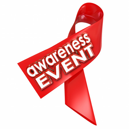 fundraiser: Awareness Event words on a red ribbon for a fundraiser or other charity walk or run to find a cure to a disease or illness like cancer Stock Photo