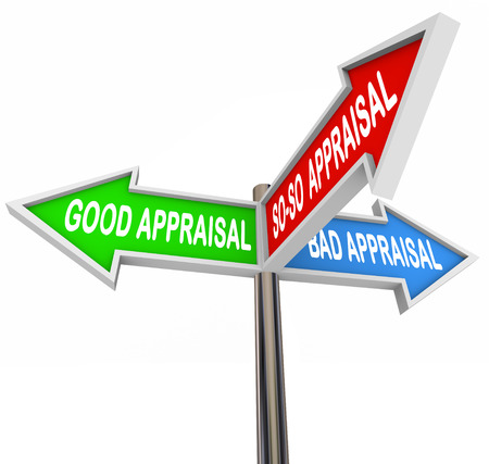 Good, bad and so-so appraisal words on signs to illustrate your level, rating or score in assessment or evalation for home, vehicle or work performance Stock Photo
