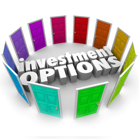 Investment Options 3d words surrounded by doors illustrating many paths or choices for saving money including 401k, ira, annunity, stocks or bonds photo