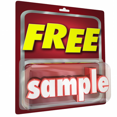 price uncertainty: Free Sample product 3d word in a package given in a store as a trial or example to get you to buy more, using advertising and martketing