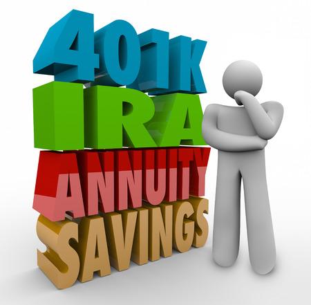 rendite: Le parole 401K, IRA, rendita, Risparmio di lettere 3d accanto a una persona pensante confuso su ci� che � l'opzione di investimento migliore per gestire le finanze di pensione e reddito Archivio Fotografico