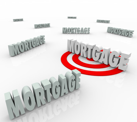 Mortgage word targeted to find the best lender or lowest interest rate to finance your new home or house purchase loan photo