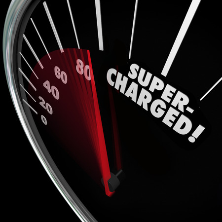 Supercharged word on a speedometer with needle racing for a power or energy boost and increasing rate of growth and gaining momentum Stock Photo
