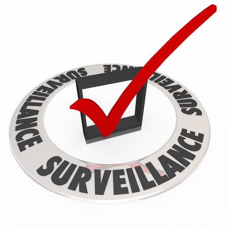 bugging: Surveillance word in ring around check box and mark to illustrate safety and security precautions taken to monitor for crime or criminal activity Stock Photo