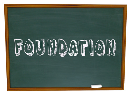 Basis: Foundation word written on a chalkboard in a business class to learn about starting a business with a strong basis