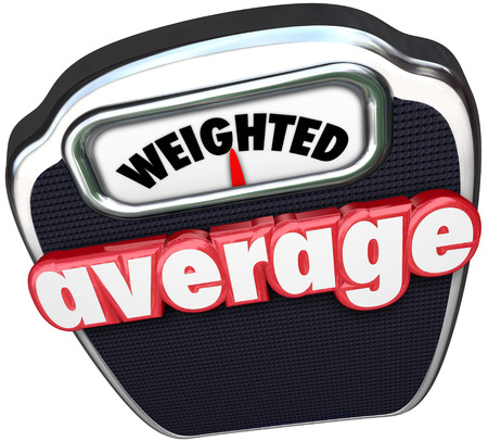weighted: Weighted Average 3d red words on a scale to illustrate measuring to find the medium point, median, typical or common size, response, or other characteristic or quality