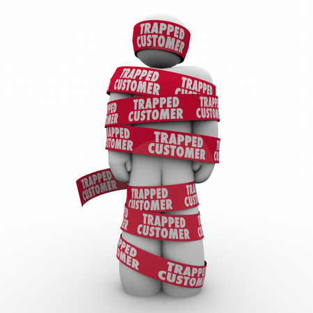 Trapped Customer words on red tape wrapped around a client, prospect or person bpund by a contract or agreement