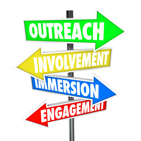 Outreach, Involvement, Immersion and Engagement words on arrows pointing the way to participation with a group, audience, customers or organization photo