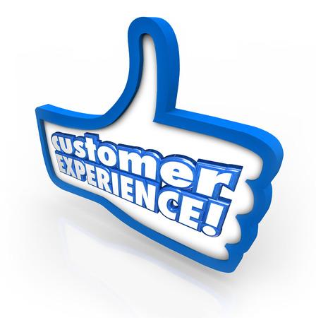 involving: Parole Customer Experience su un pollice in alto simbolo per illustrare la soddisfazione del cliente e il piacere attraverso il processo di acquisto o di shopping Archivio Fotografico