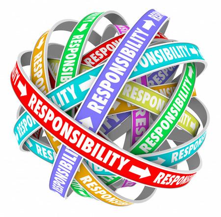 autoridad: Responsabilidad palabra en cintas en una bola o esfera para ilustrar que pasa o delegar tareas, trabajos, tareas y asignaciones a los demás miembros de su equipo