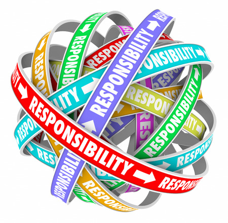 obliged: Responsibility word on ribbons in a ball or sphere to illustrate passing or delegating duties, jobs, tasks and assignments to others on your team Stock Photo
