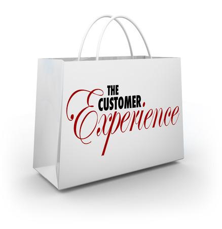 구매를 검색에서 상점이나 소매점에서 쇼핑 가방 광고 클라이언트 또는 구매자의 만족도에 대한 고객 경험 단어