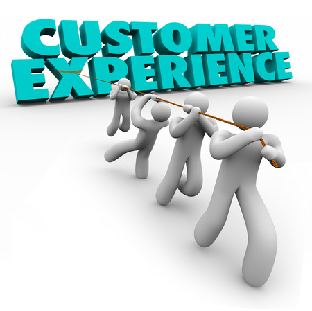 customer: Customer Experience 3d words pulled by a team of workers or staff to improve client satisfaction from every step of buying process from browsing to usage