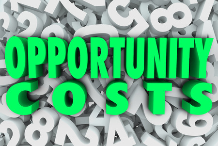 Opportunity Costs in 3d words on a background of numbers to illustrate allocation of resources on priority tasks, projects or sales initiatives