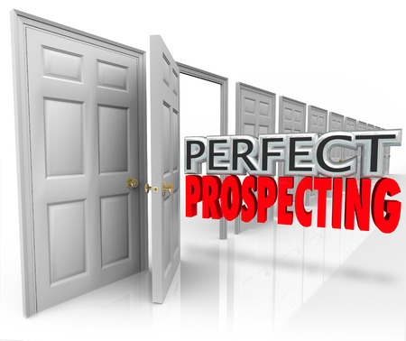 prospecting: Perfect Prospecting 3d words in an open door to illustrate practicing sales techniques to sell to new customers or clients