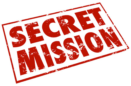 Secret Mission words in a red stamp to illustrate a classified or confidential job, assignment, objective or task photo