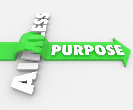 destined: Purpose word on a green arrow over Aimless in 3d white letters to illustrate an assignment, job, task, work or objective giving your lfe meaning Stock Photo
