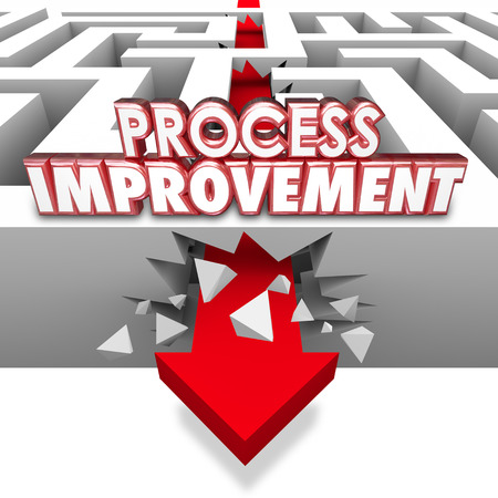 liberating: Process Improvement 3d words on an arrow breaking through maze walls to illustrate changing procedures for greater efficiency Stock Photo