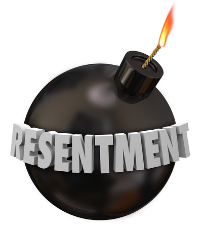 timebomb: Resentment 3d letters word on a black round bomb to illustrate danger or warning for anger, envy or bitter feelings or emotion