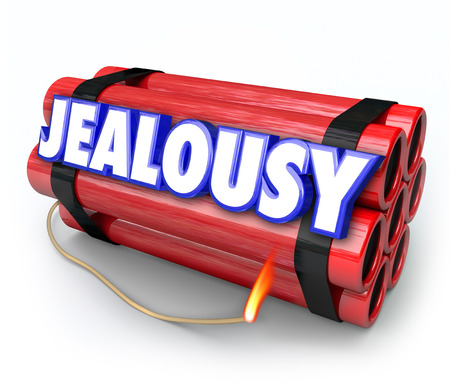 envious: Jealousy word on a time bomb of dynamite about to explode with envy, resentment, anger, negativity and rage Stock Photo