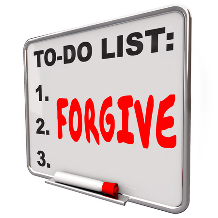 acquittal: Forgive word written on a to do list on dry erase board to illustrate the act of absolving, excusing or forgetting a wrongdoing