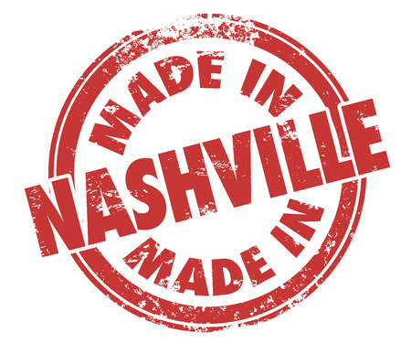 music production: Made in Nashville stamp illustrating pride in music produces in the city Stock Photo