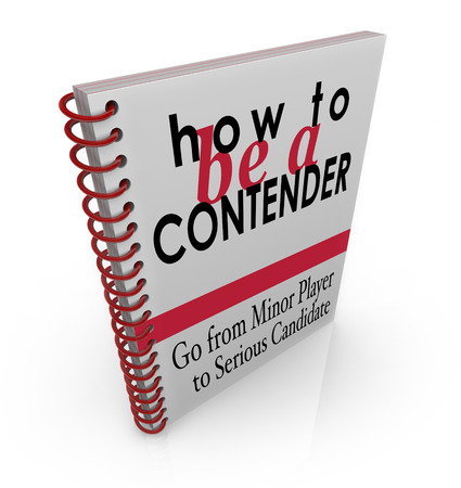 adversaries: How to Be a Contender words on a book cover offering advice, tips and instructions to be a serious competitor for a new job or winning a game Stock Photo