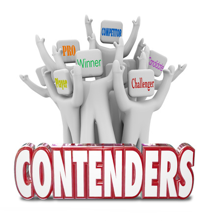 adversaries: Contenders red 3d words and people cheering behind it marked player, pro, winner, candidate, competitor and challenger Stock Photo