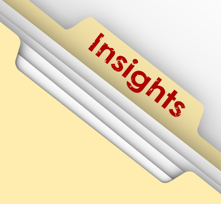 interpret: Insight word on a manila folder tab to illustrate analysis of information in a file breaking down important details to find meaning for your job, career or life
