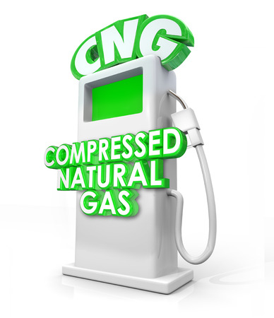 CNG acronym in greed 3d letters on an alternative fuel pump and words Compressed Natural Gas on it to advertise the clean energy or power option photo