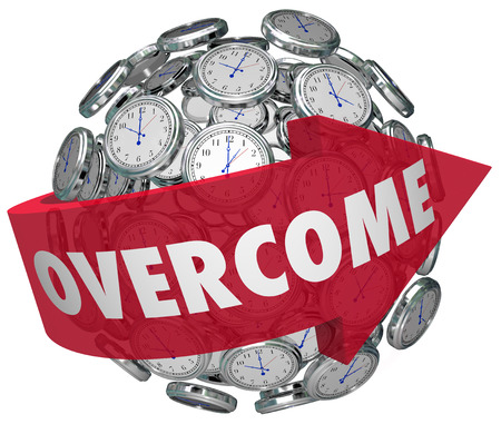 conquered: Overcome word on a red arrow around a ball or sphere of clocks to illustrate problems going away or conquered as time marches on Stock Photo
