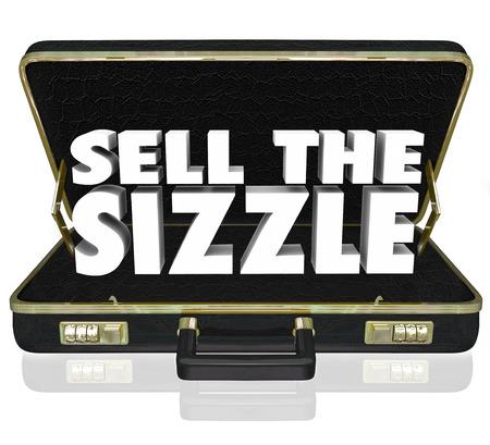 シズルを売るお客様のメリットと製品またはサービスの要望を売り込んでいるセールス プレゼンテーションのための黒革のブリーフケースで 3 d の 写真素材