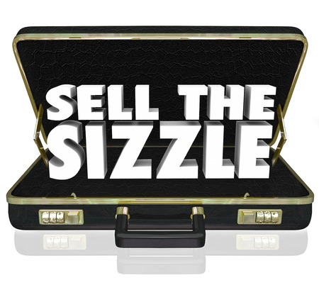 Sell the Sizzle 3d words in a black leather briefcase for a sales presentation that touts the customers benefits and desires of a product or service Stock Photo