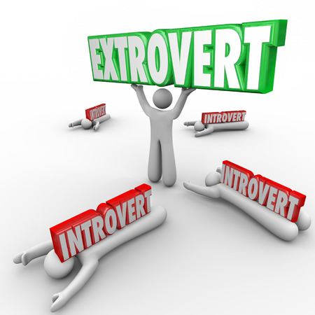 introvert: Extrovert vs Introverted people with outgoing character holding a word in triumph and shy people crushed by the 3d letters