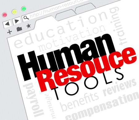 website words: Human Resources words on a website internet screen including education, motivation, payroll, training, management, reviews and compensation