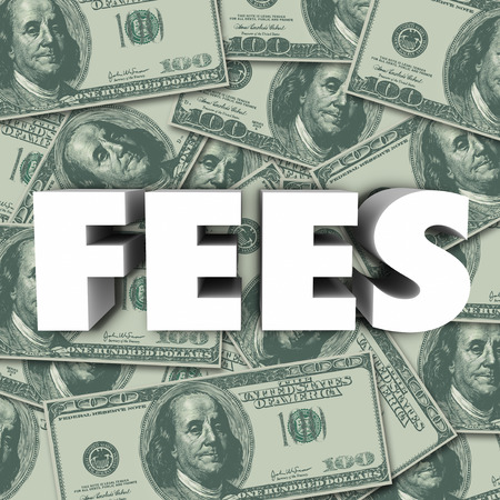 fees: Fees word in 3d letters to illustrate penalties, added cost, price or burden on a purchase or service
