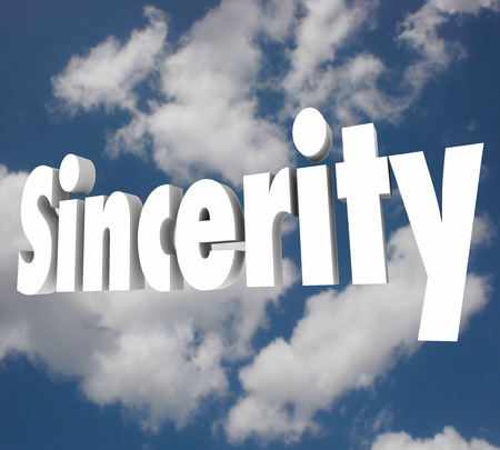 the sincerity: Sincerity word on cloudy sky to illustrate being truthful, honest, direct and open in communication and relationships with others Stock Photo