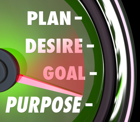 destined: Purpose word on a speedometer or gauge with needle rising past Plan, Desire and Goals as steps to measure meaning and success rate of your mission