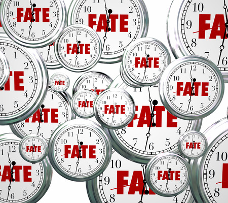 outcome: Fate word on 3d clocks moving forward in time toward an eventual, unavoidable destiny, outcome or result Stock Photo
