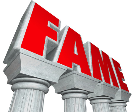 recognized: Fame word in 3d marble letters on stone columns to illustrate celebrity, attention, acclaim glory and reputation for doing notable or recognized work Stock Photo