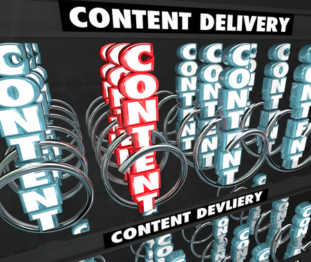 Content 3d word in a snack or vending machine to illustrate a delivery network or server system for getting video, photos, articles or information to an audience or customers Stock Photo