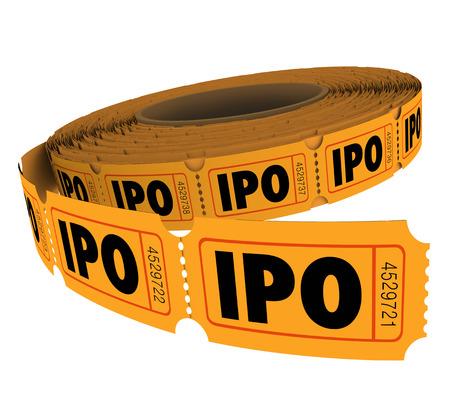 abbreviated: IPO iniziali lettere un'offerta pubblica acronimo su un rotolo di biglietti della lotteria per illustrare le probabilit� di successo nel perseguire capitale attraverso la vendita di azioni o quote in azienda Archivio Fotografico