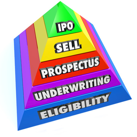initial public offering: IPO words on a pyramid of steps including Eligibility, Underwriting, Prospectus and Sell on the way to an Initial Public Offering