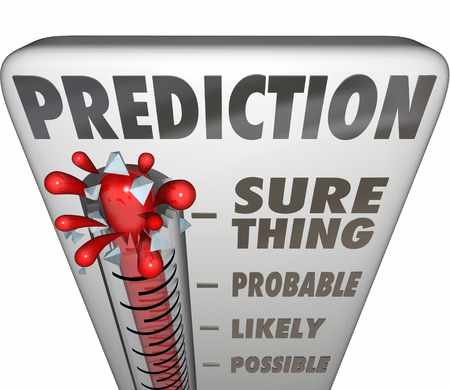 foreshadow: Prediction word on a 3d thermometer measuring the possible or potential opportunity, outcome or result of a project, attempt or initiative