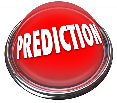 Prediction word on a red button or flashing light to illustrate fate, destiny, prophesy or fortune telling for future success Stock Photo