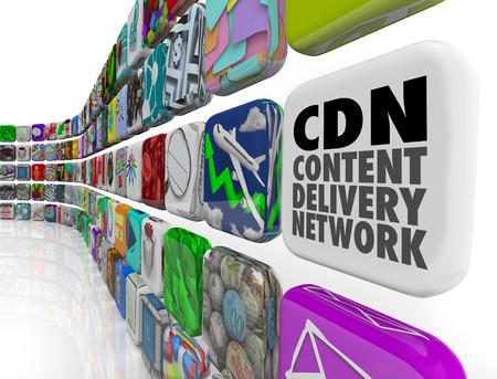 redes de mercadeo: CDN palabras Content Delivery Network en un mosaico de aplicaciones para ilustrar de software, aplicaciones, tecnología, servidores o programas para el suministro de fotos, videos, artículos o información a una audiencia